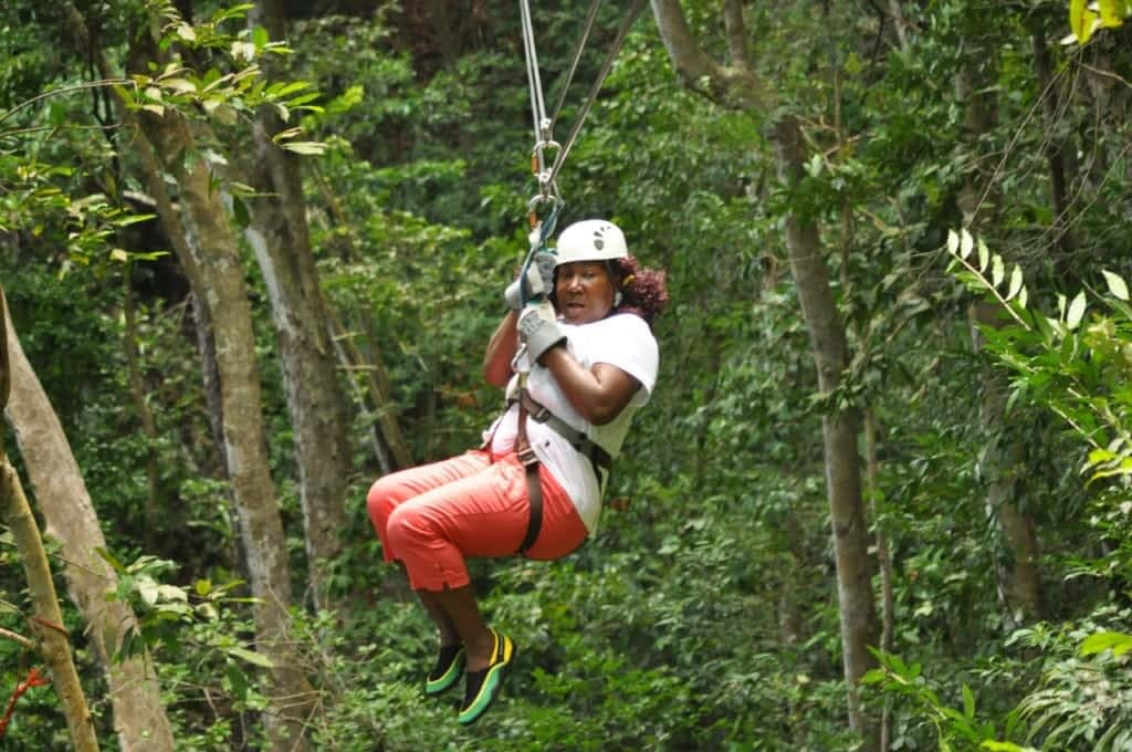 ziplinging in the forest of Jamaica
