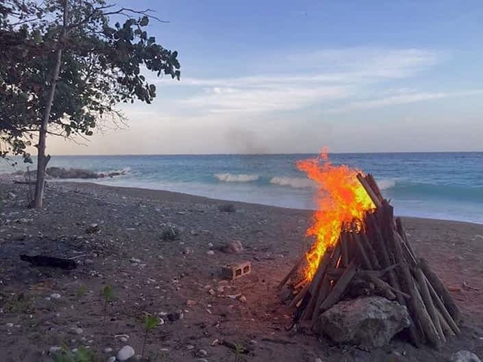 Private beach bon fire