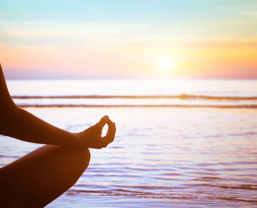 serenity and yoga practicing at sunset, meditatio