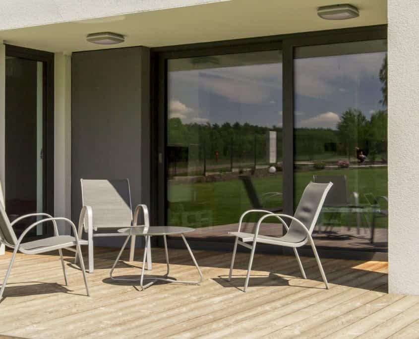 Villa terrace with an outdoor furniture set